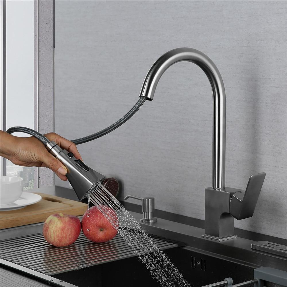 Pomme de pulvérisation extensible acier inoxydable | Robinets de cuisine, poignée extractible, tuyau de douche, robinet de cuisine, évier contemporain froid et chaud nouveau
