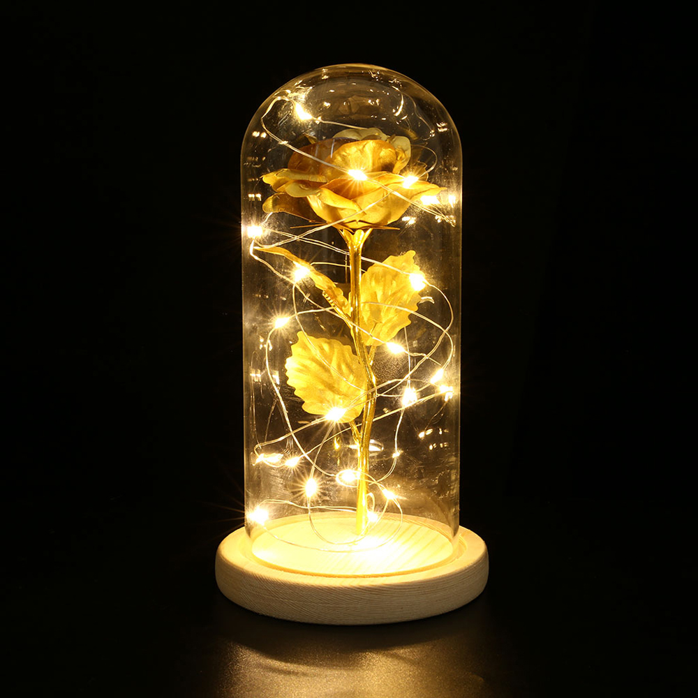 Rose Flower LED Light With Glass Cover Wooden Base Birthday Gift Beautiful Preserved Valentines Day Wedding Gift