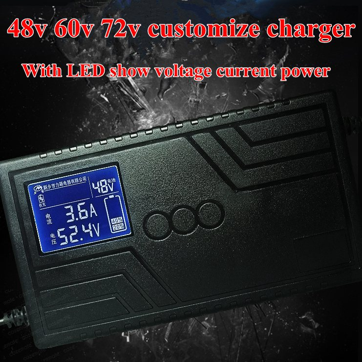 Lithium Lifepo4 Lto Battery Charger for Electric Car Ebike Automatic Power Off LCD Screen 48v 60v 64V 72v 10Ah 20Ah 30Ah Charger