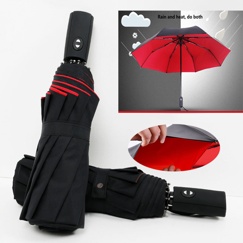 NX Automatic Umbrella Rain Women Three Folding Umbrella Men Anti-UV Double Layer Windproof Sun Women Umbrellas Corporation