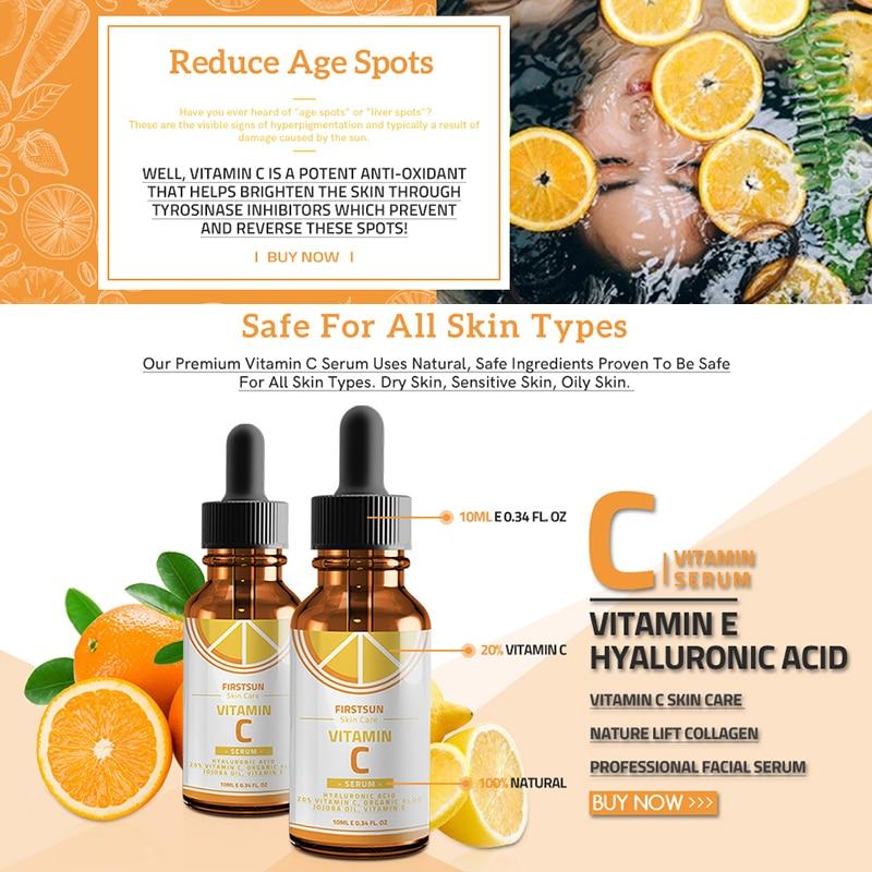 Vitamin C Whitening Serum Hyaluronic Acid Face Cream Anti-Aging Essence Serum Remover Freckle Speckle Fade Skin Care