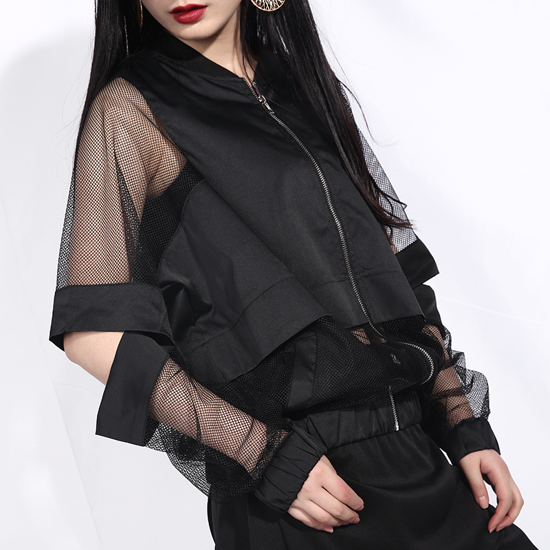 [EAM] 2020 New Spring Autumn Stand Collar Long Sleeve Black Hollow Out Perspective Loose Jacket Women Coat Fashion Tide JF73 5