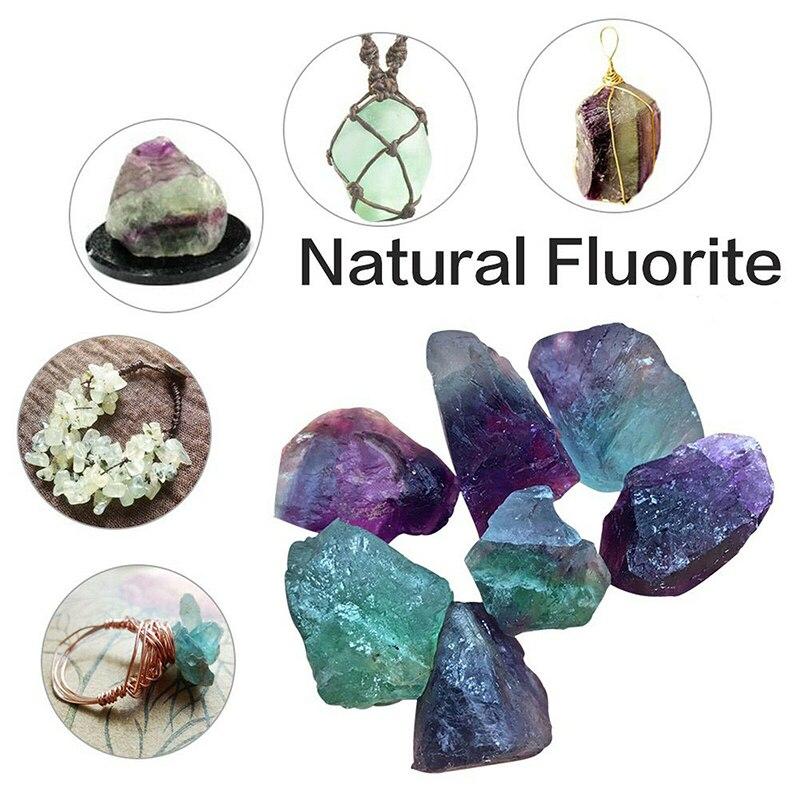 Natural Fluorite Quartz Crystal Stone DIY Pendant Fluorite Quartz Crystals Healing Stones Home Decoration