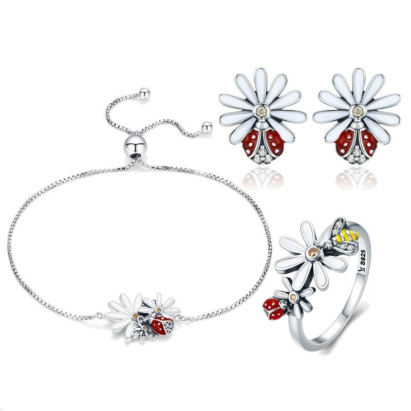 Collection printemps 925 bijoux en argent Sterling Daisy fleur ensemble femmes Bracelets bagues ensemble bijoux de luxe en argent Zhs094