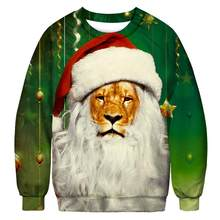 3D Printing Mens Casual Style CHRISTMAS SWEATER Lion Cats Pet Floral Funny Male Pullover Sweaters Tops Autumn Winter Clothing(China)