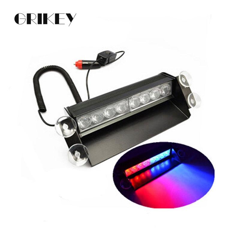 8 LED-es jármű jármű vészvillogó villogó villogó fényjelző szélvédő 3 villogó üzemmód lámpa 4 szívókoronggal piros / kék