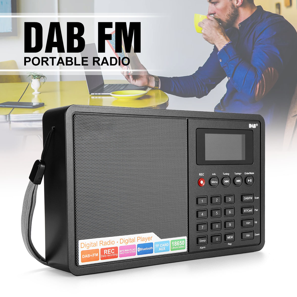 Portable DAB/DAB+ FM Bluetooth4.0 1.8 Inch TFT Screen LCD Digital Radio Music Speaker MP3 USB Alarm Clock Digital Support RDS 5pcs pocket radio 9k portable dsp fm mw sw receiver emergency radio digital alarm clock automatic search radio station y4408