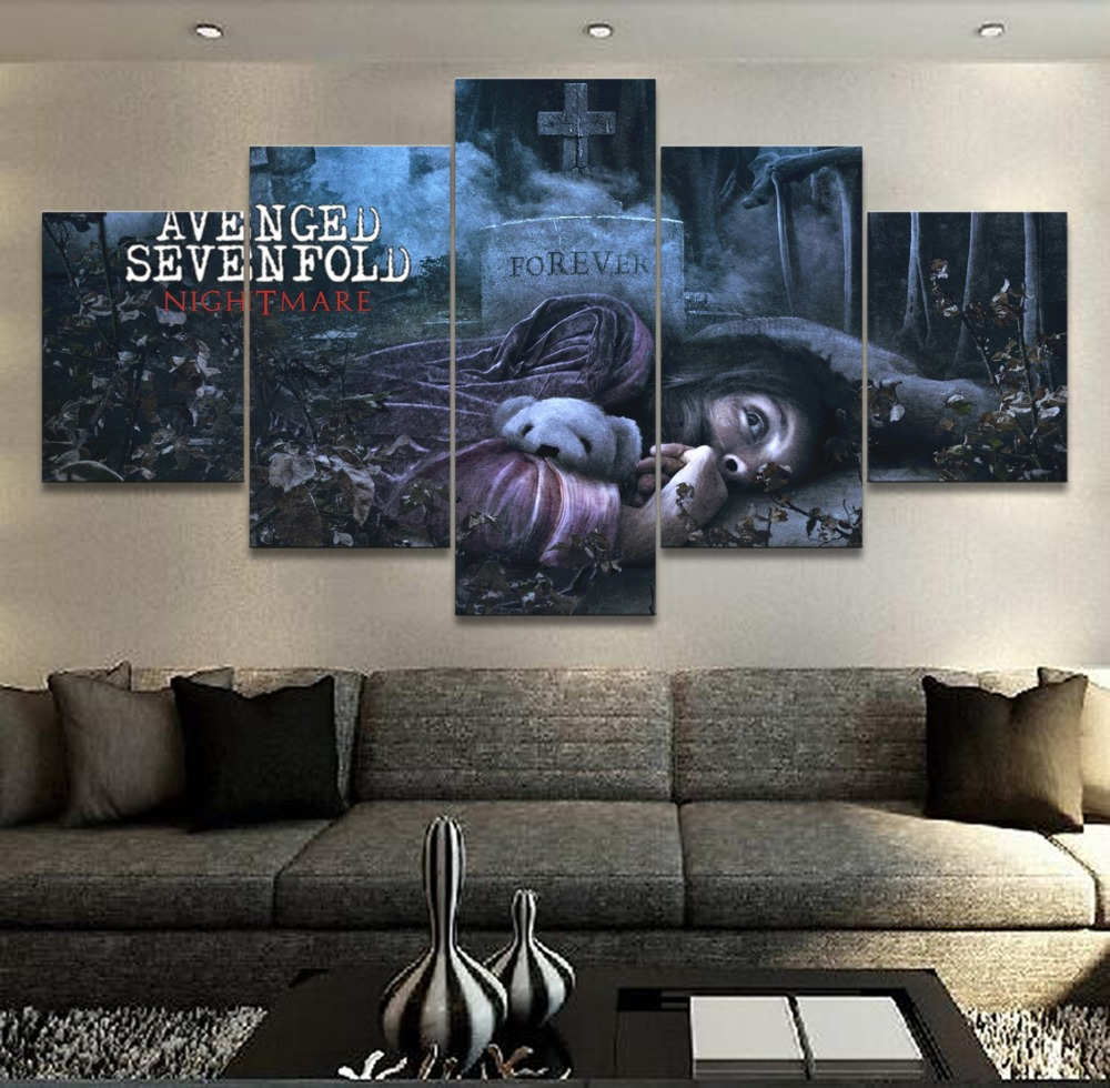 5 Panel Music Avenged Sevenfold Canvas Printed Painting For Living Room Wall Art Home Decor HD Picture Artworks Modern Poster