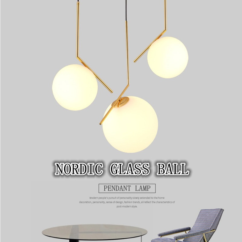 Nordic Glass Ball Pendant Lingts For Living Dining Room Bedroom Restaurant Droplight Iron Led Hanging Lamp Suspension Luminaire