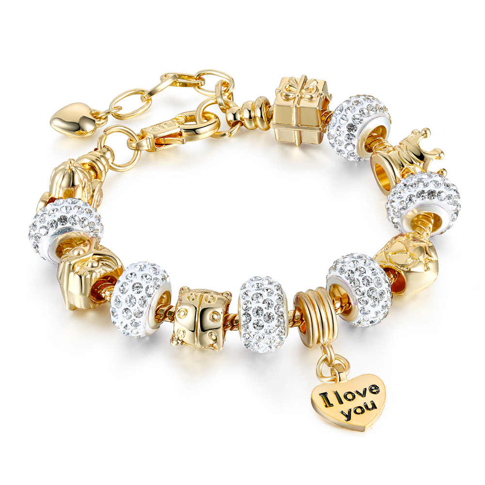 moins cher 991bb 1ad77 Gifts Gold Color Crystal Heart Charm Personalized pandora Bracelets &  Bangles For Women Trendy Bracelet Femme Jewelry