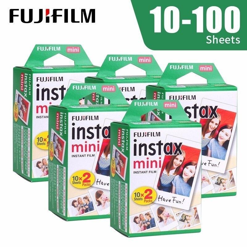 Fujifilm Instax Mini película borde blanco 10.20.40.60.100 hojas/paquetes de papel fotográfico para Fuji cámara instantánea 8/7 s /25/50/90/sp-1/sp-2