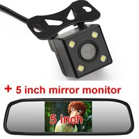 HD 800*480 Screen Car Mirror Monitor 5 TFT LCD Mirror Car Parking Rear View Monitor 2 Video Input Connect Rear/ Front Camera