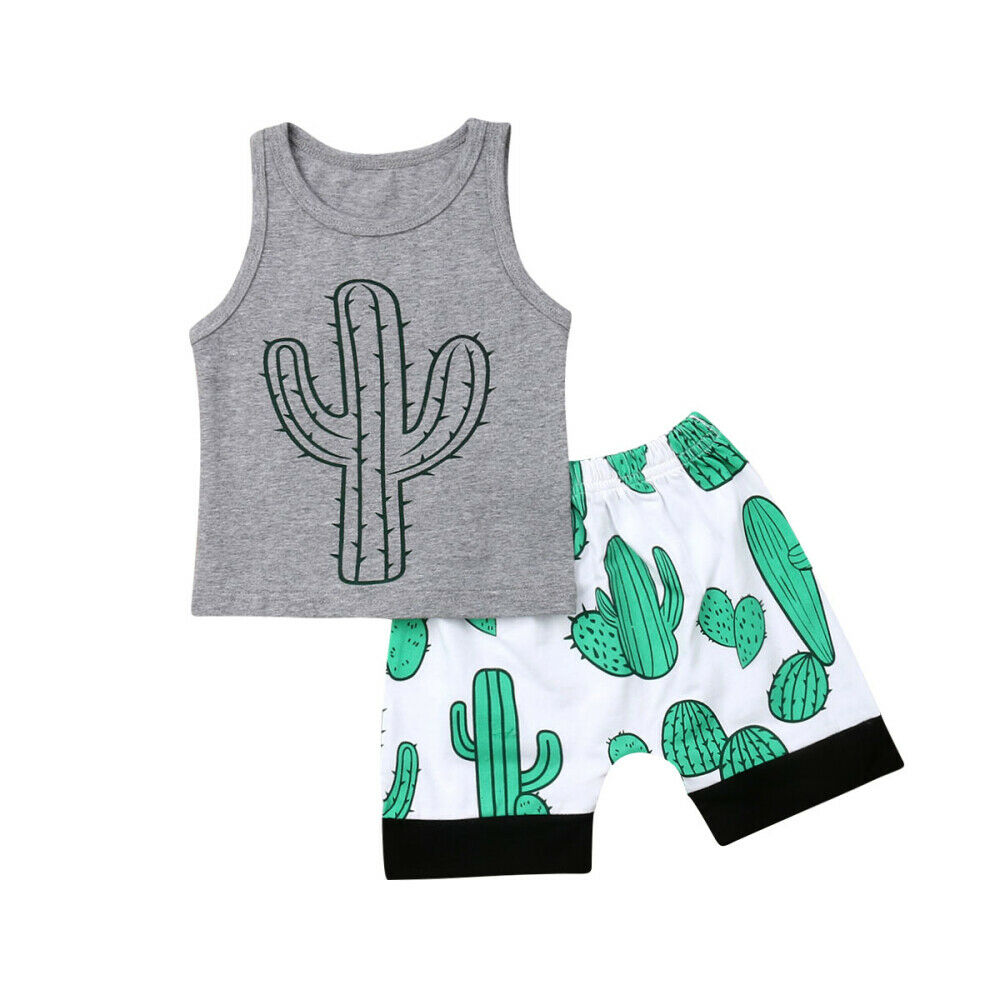 0-3Y Newborn Kids Baby Boy Summer Clothes Sleeveless Cactus Vest Shorts Pant Bottom 2PCS Boys Clothing Set