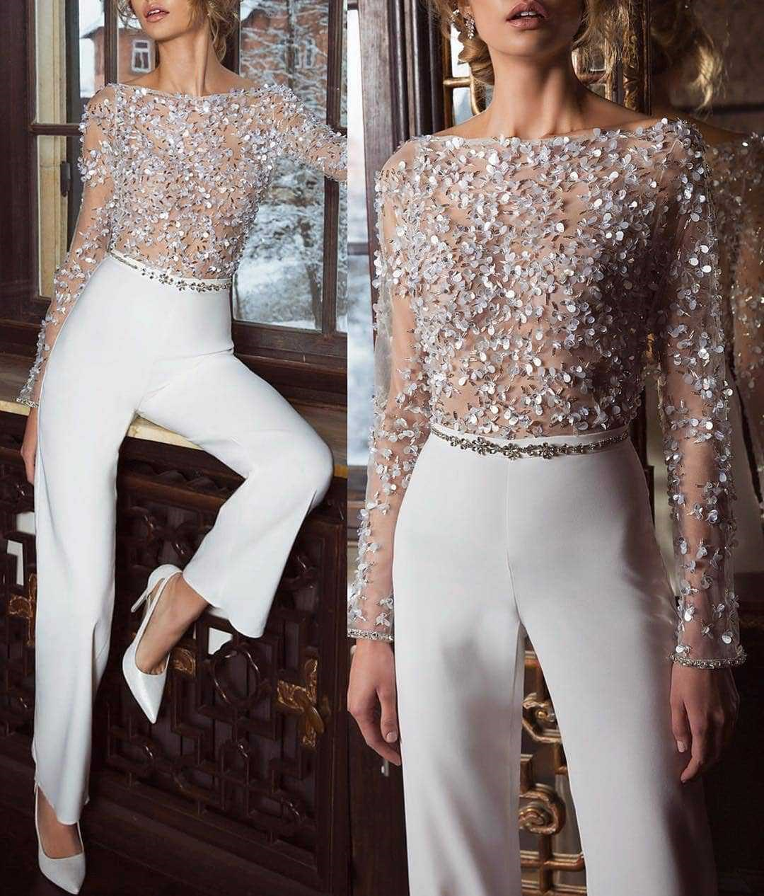 Women Sequins Embellished Mesh Long Sleeve   Jumpsuit   Elegant Long Transparent Slim Fit Romper Overalls Causal Club Party Tops