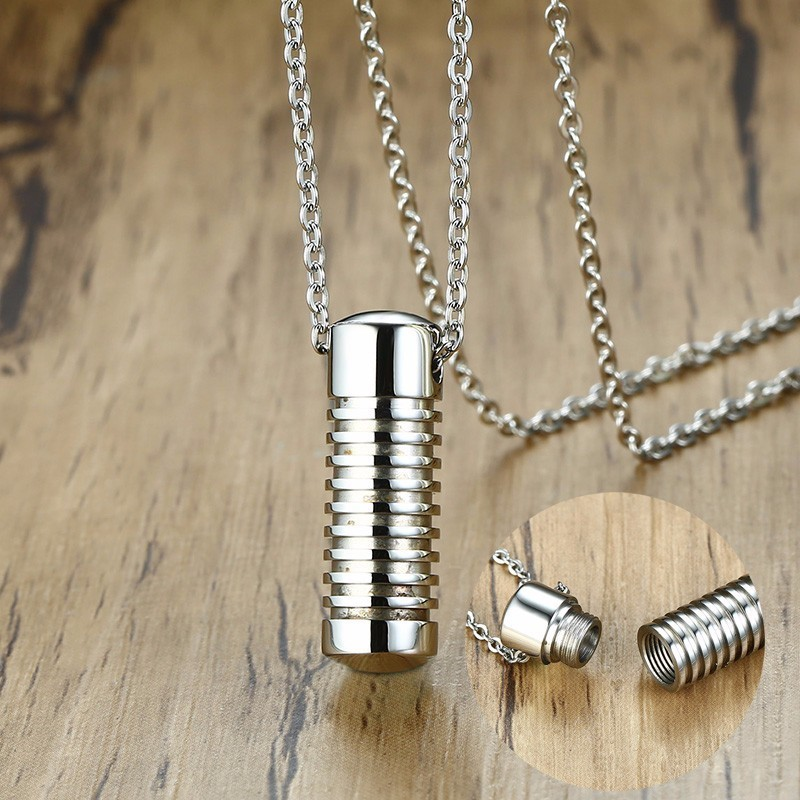 Urn Pendant Necklace Open Capsule Vial Chain Keepsake Memorial Jewellery Tube