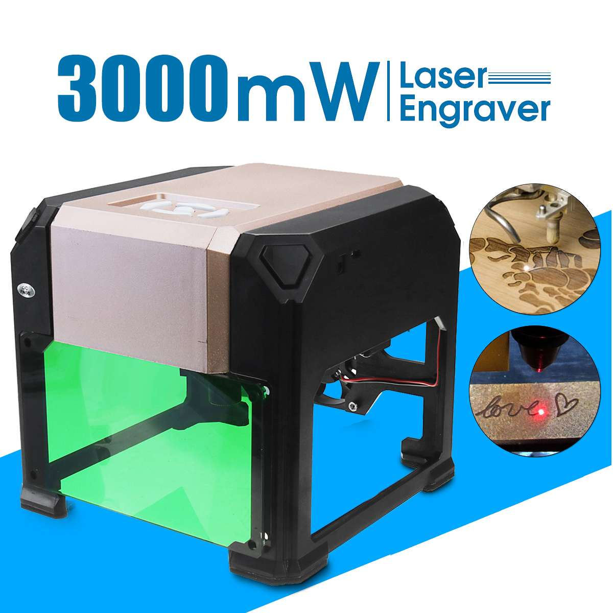 3000 mW CNC Laser Engraver DIY Logo Mark Printer Laser Engraving Carving Machine for Home Use Handicraft Wood Tools