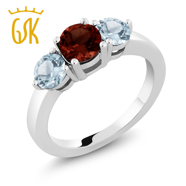 f20396828de35 US $107.99 |GemStoneKing 2.00 Ct 3 Stone Natural Red Garnet & Aquamarine  Wedding Band Rings 925 Sterling Silver Fine Jewelry For Women-in Rings from  ...