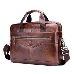 Image 1 - Männer Aktentaschen Anwalt Echtem Leder Handtasche Vintage Laptop Aktentasche Männlichen Computer Schulter Taschen Casual männer Tasche Dokumente