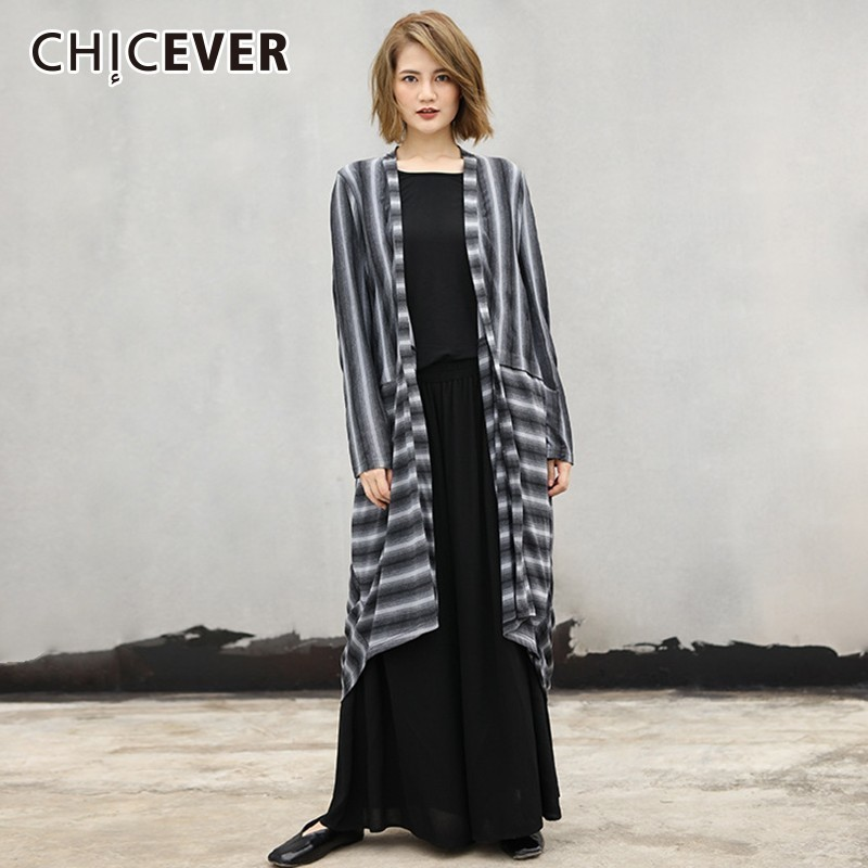 CHICEVER Striped   Trench   Coat For Women's Windbreaker V Neck Long Sleeve Bow Bandage Cardigans Of Large Sizes Autumn Fashion new