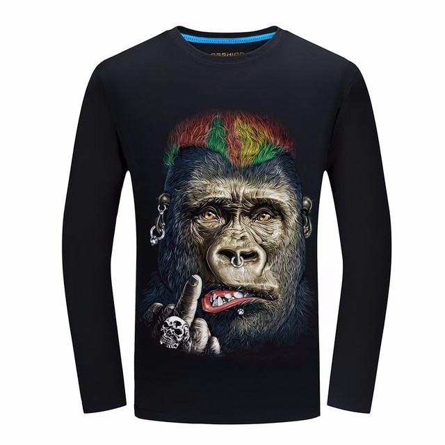 c0555c08e48 2019 Spring New Brand long sleeve 3d Printed funny t shirt chemise homme  casual summer top streetwear Plus Size 6XL Factory sale
