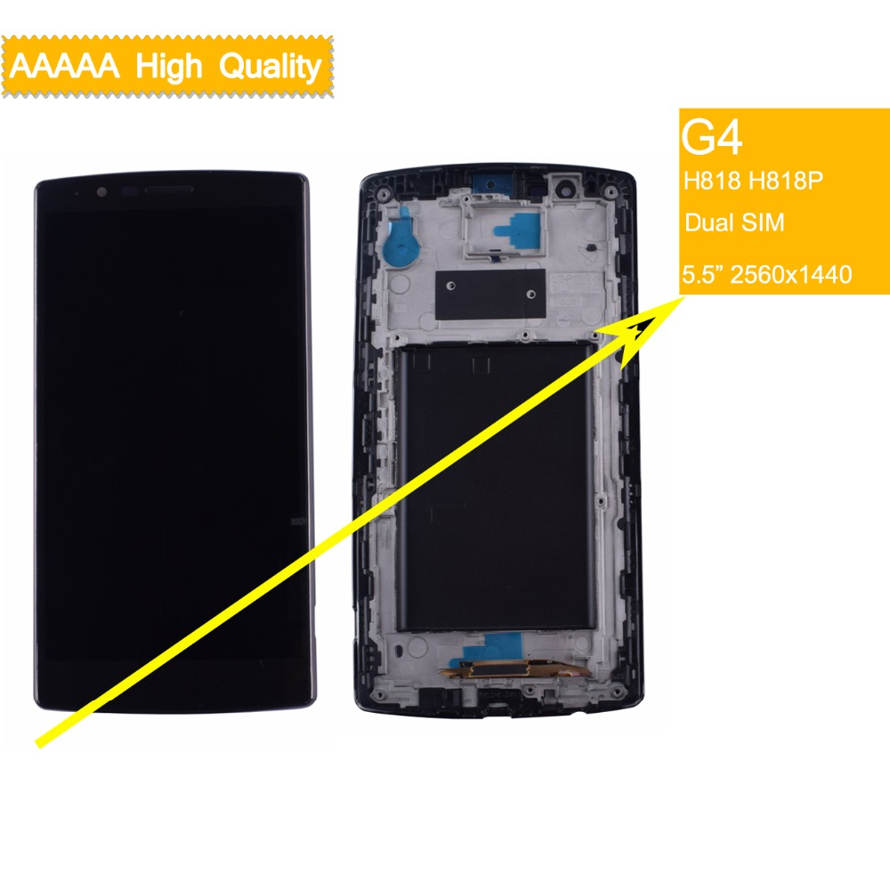 10Pcs Original Dual SIM Display For LG G4 LCD H818 H818P Touch Screen Digitizer with Frame for assembly