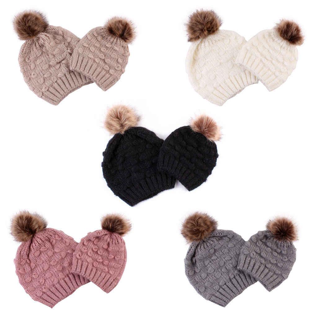 2224e95d269 Family Matching Hat Women Mom Kid Baby Boy Girl Knit Wool Pom Bobble Hat  Winter Warm