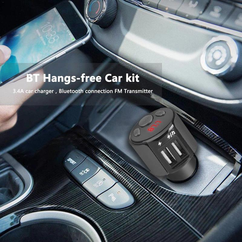 Car Bluetooth Kit FM Transmitter Wireless Bluetooth Car Stereo Radio Adapter <font><b>USB</b></font> Phone Charger MP3 Player Auto Accessory image