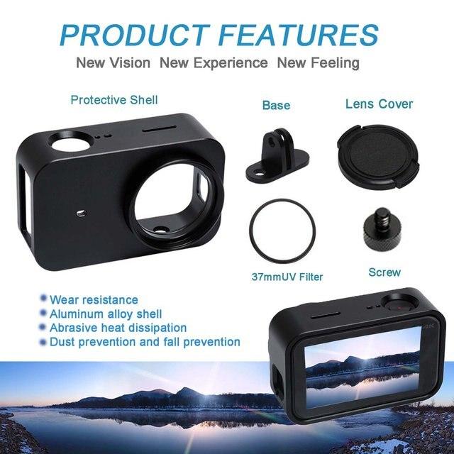 Funda protectora superior de aleación de aluminio Cnc para Xiaomi Mijia, soporte de jaula para cámara con lente Uv de 37mm para Mijia 4K Mini cámara deportiva