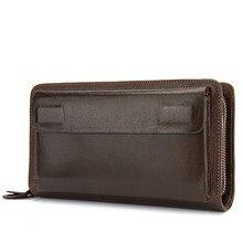 Длинный кошелек для телефона, кошелек, держатель для карт, сумки для денег, мужской клатч, кошелек, мужской кошелек из натуральной кожи, двойная молния, мужской кошелек