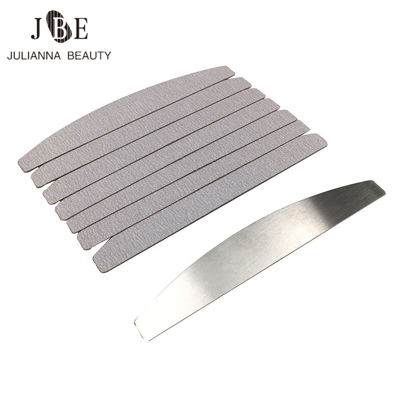 1 Pcs Metal Handle With 10pcs Removalble Nail File Pad Durable Nail File Replacement Sandpaper Pad Manicure Nail Tool 80/100/180