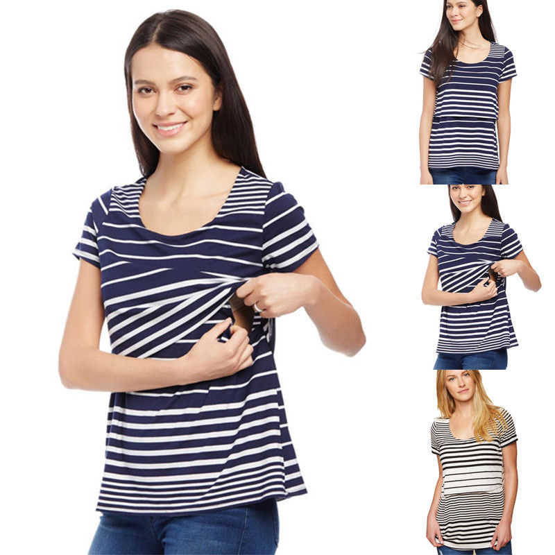 9141851c5a6c7 Fashion Womens Maternity T-Shirt Blouse Summer Breastfeeding Striped T-Shirt  Short Sleeve Nursing