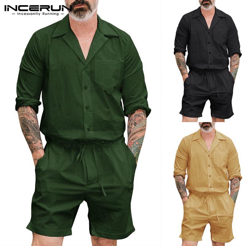 INCERUN New Fashion Men Rompers Cargo Overalls Long Sleeve Solid Color Pants Loose Pockets Playsuit Men Jumpsuit Streetwear 2020