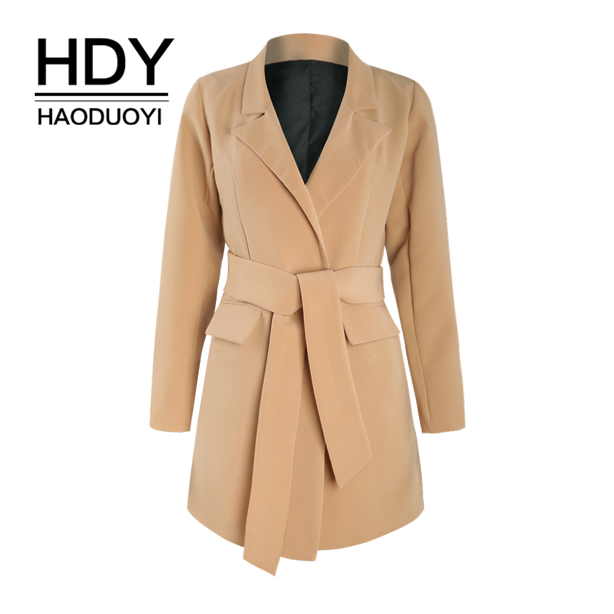 HDY Haoduoyi Simple commuter camel large tie pocket waistband slim suit jacket