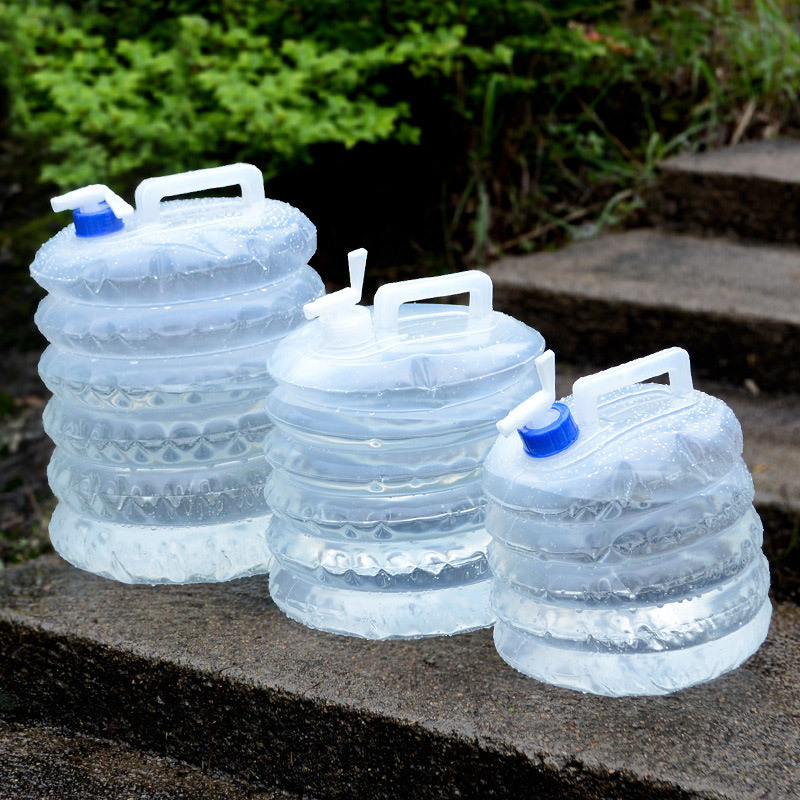 20L Water Carrier Containers Foldable Collapsible With Camping Bottles Tap S4V5