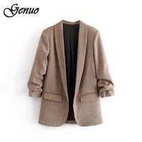 Women solid blazer winter pockets pleated three quarter sleeve outerwear ladies work wear casual chic tops