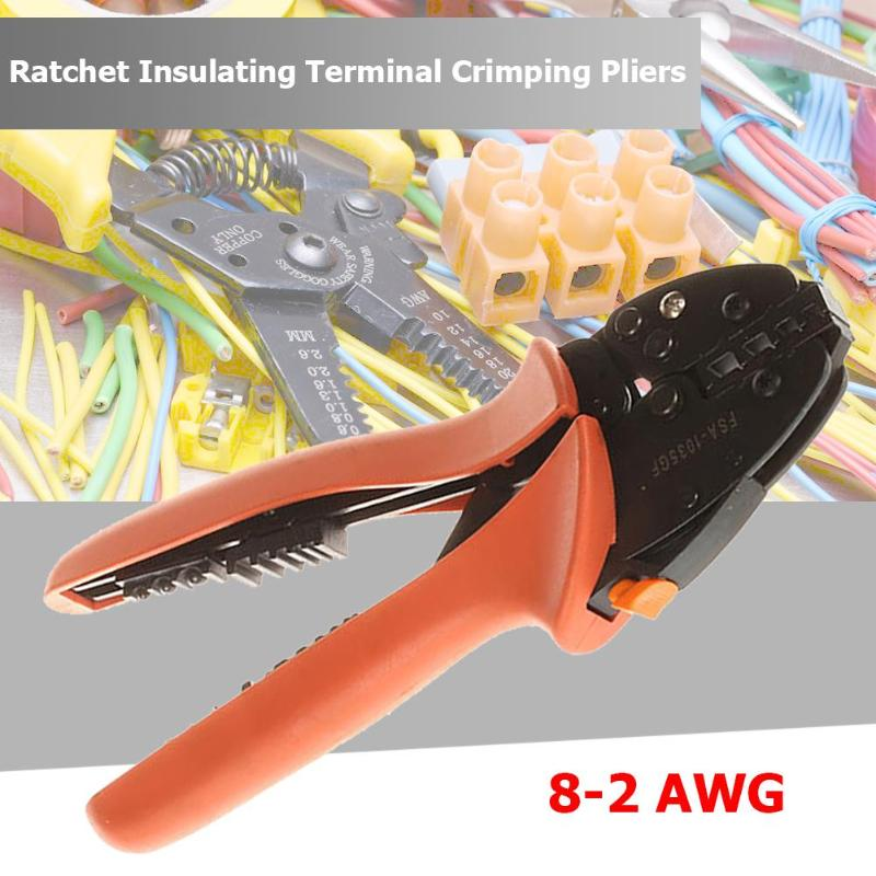 Crimping Pliers 8 2 AWG Ratchet Cold pressed Terminal Crimping Pliers Wire Stripper Cable Crimp Stripping