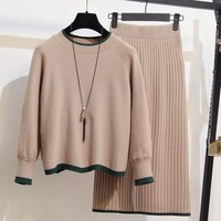 2018 New Autumn Winter Women 2 Piece Set Pullovers Tops and Skirt Sweater Knitted Suits Long Sleeve Plus Size Outfits