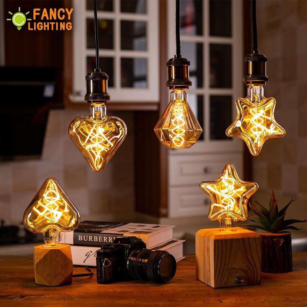 Led lamp E27 Star/Heart/Diamond Spiral Soft LED Filament Lamp for home/living room/bedroom/Dining room decor 220V bombillas led