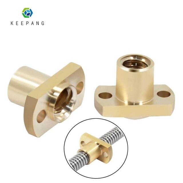 T8 leadscrew nut Pitch 2 มม. 2 มม./8 มม. ทองเหลือง T8x8mm หน้าแปลนตะกั่วสกรูสำหรับ CNC อะไหล่ 3D เครื่องพิมพ์อุปกรณ์เสริม