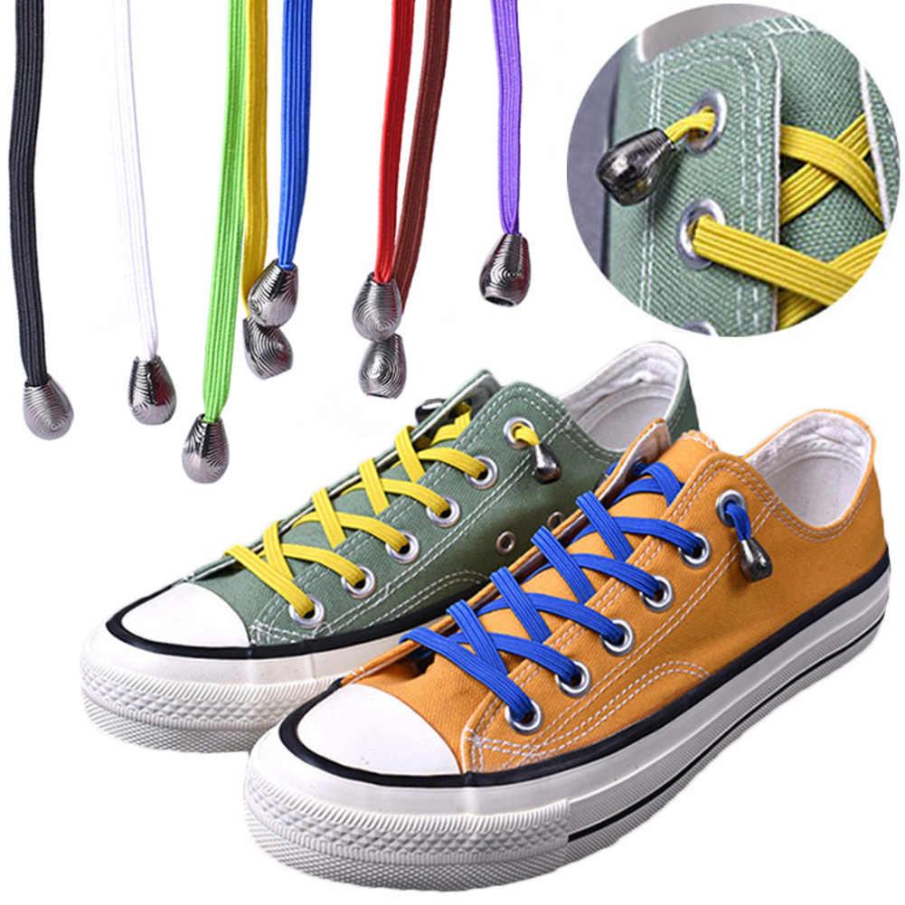 1 คู่ยืดล็อคไม่มี tie lazy shoeLaces รองเท้าผ้าใบยืดหยุ่นยางรองเท้าเด็กปลอดภัยเชือกผูกรองเท้า