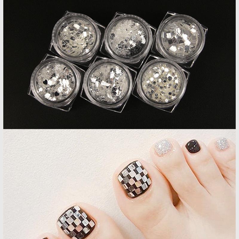 HNUIX Nail Glitter Sequin Holographic Silver Flakes Colorful Round Sequins Manicure Art Decoration