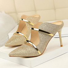 Fashion Sexy Nightclub Shoes Thin High Heeled Sequins Cloth Pointed Toe Summer Sandals And Slippers Shoes DS-A0247