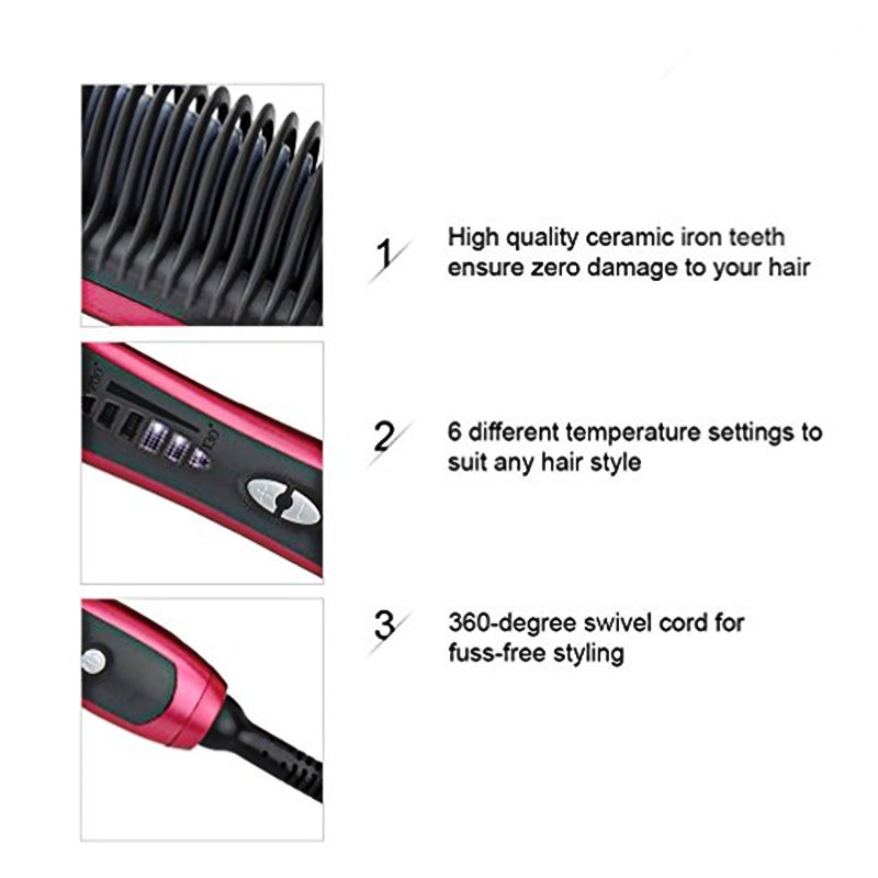 Men Quick Beard Straightener Styler Curler Comb And Beard Curler Permed Clip Styling Tools 3