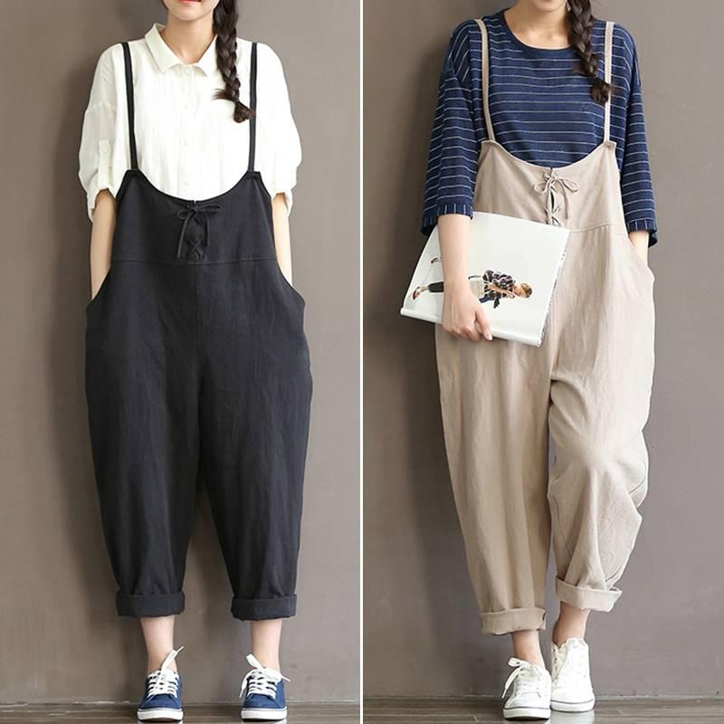 Celmia Women Vintage Cotton Linen   Jumpsuits   2019 Summer Casual Dungarees Strapless Wide Leg Playsuit Plus Size Overalls Rompers