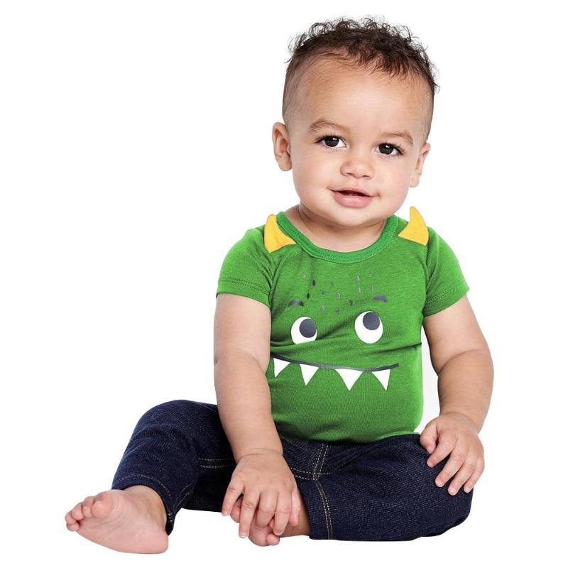 Baby Boy Rompers Cartoon Monster Print Baby Clothes Casual Short Sleeve Newborn Clothing O-Neck Cotton Jumpsuit