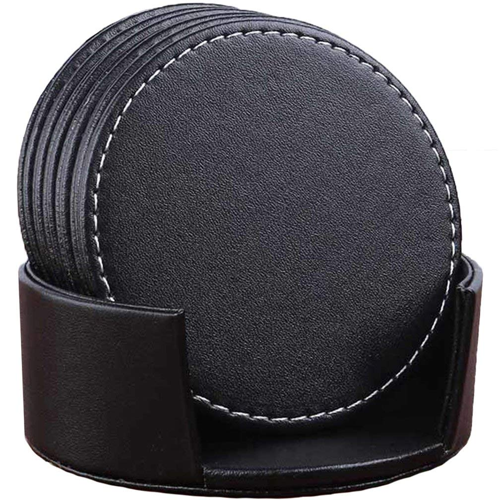 Set Of 6 Leather Drink Coasters Round Cup Mat Pad For Home And Kitchen Use Black