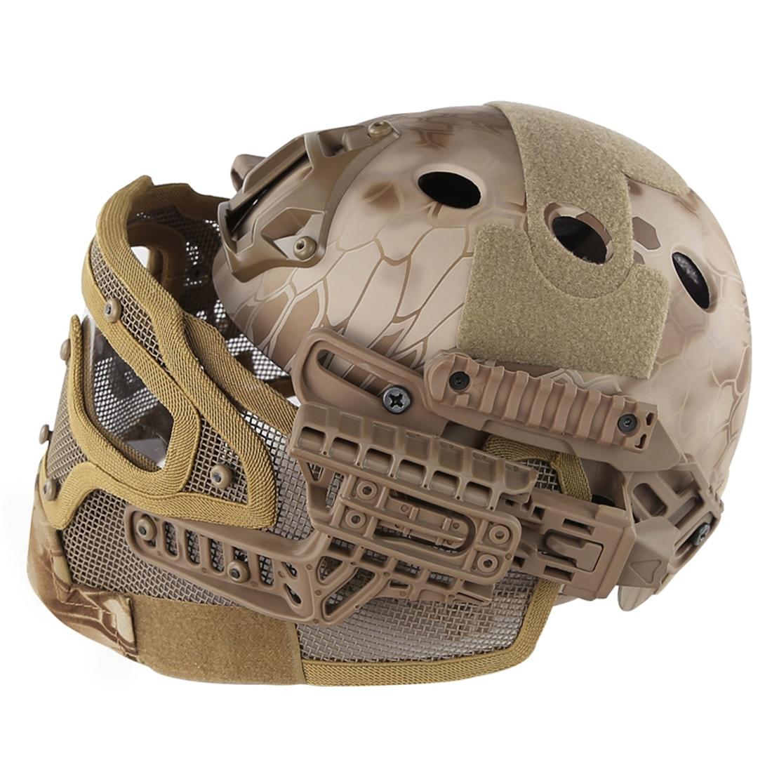 WST acier fil de protection rapide Paintball masque casque costume pour activité de plein air Paintball accessoires-désert Python Grain - 3