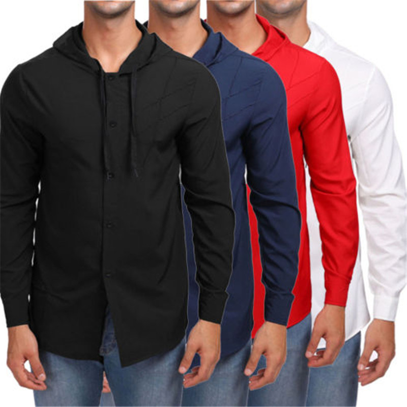 Men Work Shirt Soft Long Sleeve Square Collar Regular Solid Men Shirts White Male Tops Business Casual T-Shirts Tennis Jackets
