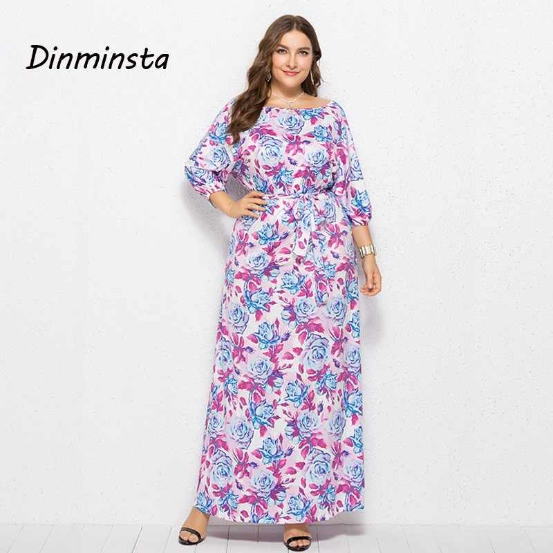 9125ffad4a Dinminsta Women Floral Print 3XL Plus Size Dresses New Spring Female ...