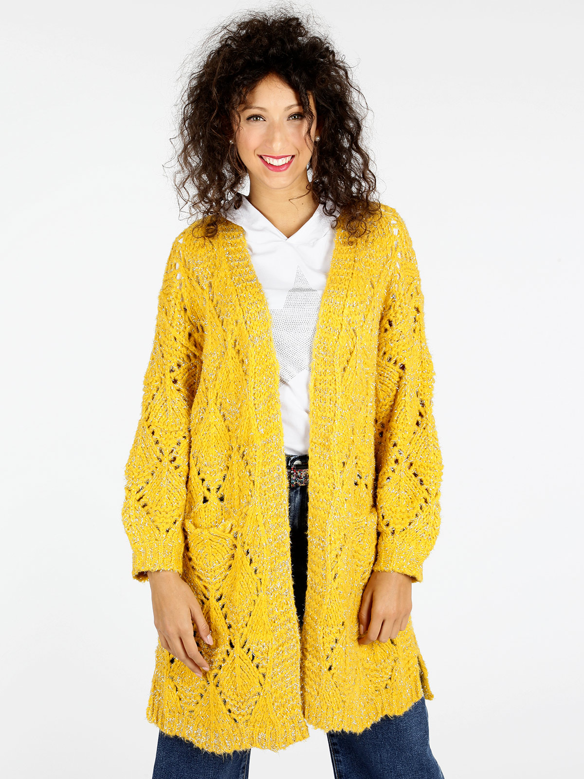 Woman autumn new big V neck hollow knitted diamond pattern wool mid length cardigan sweater